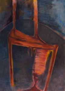 Stuhl 5 (Roter Stuhl auf grau-schwarzem Grund), Acryl auf Leinwand 50x70, 07/2001