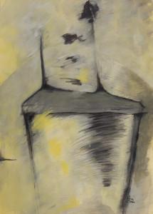 Stuhl 1 (Grauer Stuhl in gelber Weite), Acryl auf Papier 50x70, 091/2001,