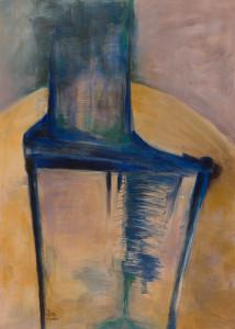 Stuhl 3 (Blauer Stuhl auf gelbem Grund), Acryyl auf Papier 50x70, 05/2001