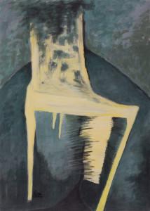 Stuhl 4 (Gelber Stuhl auf blau-schwarzem Grund), Acryl auf Papier 50x70, 05/2001