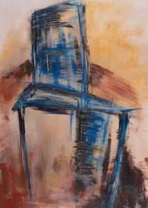Stuhl 2 (Blauer Stuhl auf ocker-rost Grund), Acryl auf Papier, 03/2001